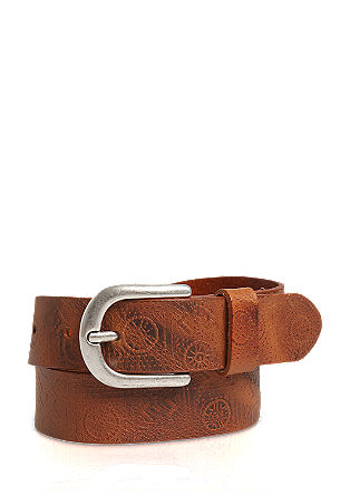 Leather belt with embossing from s.Oliver