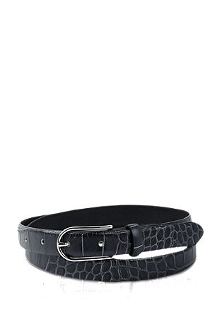 Leather belt with reptile embossing from s.Oliver