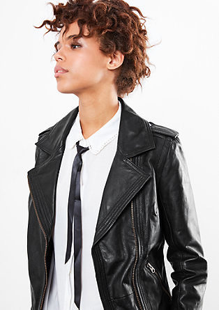 Leather jacket with a wide collar from s.Oliver