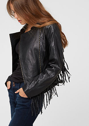 Leather jacket with fringing from s.Oliver