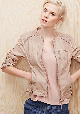 Leather jacket with perforations from s.Oliver