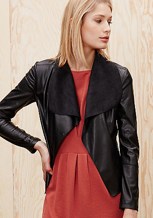 Leather-look jacket with a shawl collar from s.Oliver