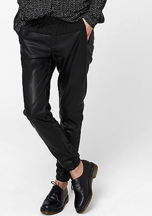 Leather-look tracksuit bottoms from s.Oliver