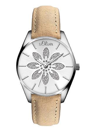 Leder-Armbanduhr mit Glitzer-Blüte