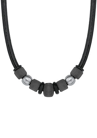 Leder-Halsband mit Beads