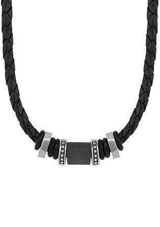 Leder-Halskette mit Carbon-Beads