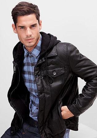 Leder-Look-Jacke mit Kapuze