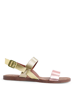 Leder-Sandalen in Metallic