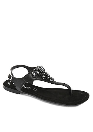 Leder-Sandalen mit Schmucksteinen
