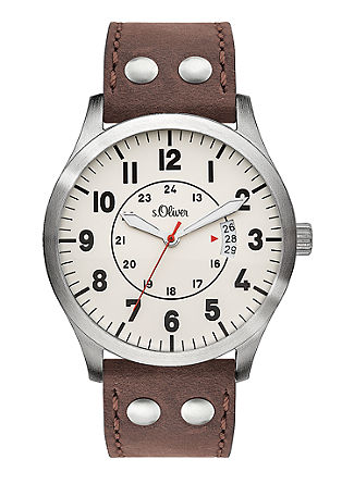 Lederband-Uhr in Flieger-Optik