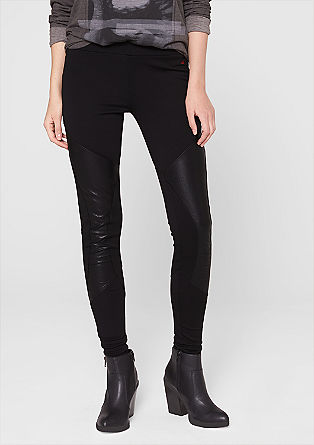 Leggings with faux leather inlays from s.Oliver