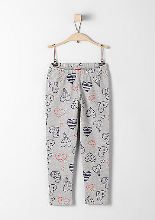 Leggings with hearts made of sweatshirt fabric from s.Oliver