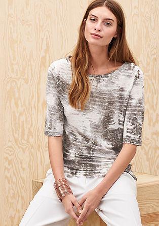Leinenshirt im Batik-Look