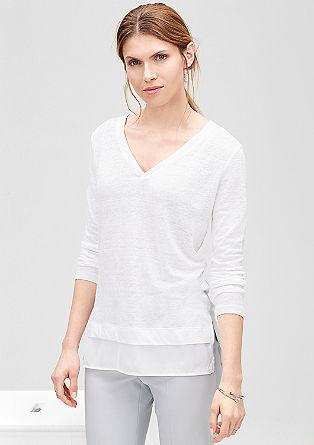Leinenshirt mit Blusen-Details