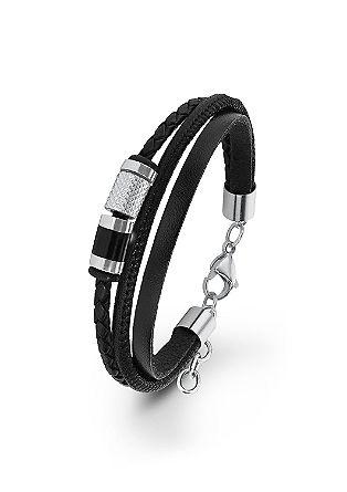 Leren armband met edelstalen beads