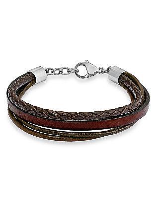 Leren armband met edelstalen detail