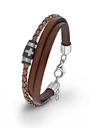 Leren armband met een kruis-kraal