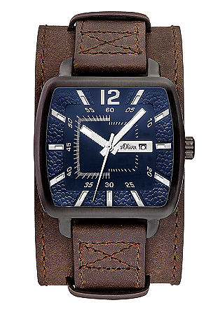 Leren horloge met een blauwe wijzerplaat