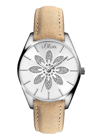 Leren horloge met glinsterende bloem