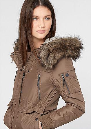Letalska jakna s kapuco iz umetnega krzna