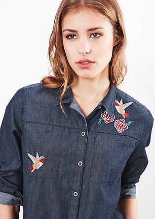 Lightweight denim blouse with artwork from s.Oliver