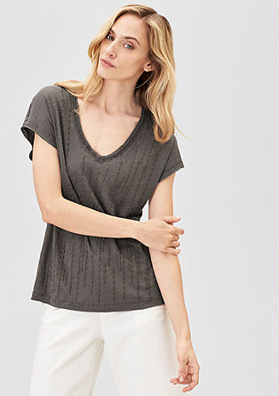 Linen T-shirt with embroidery from s.Oliver