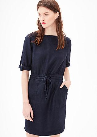 Linnen jurk met visgraatdessin