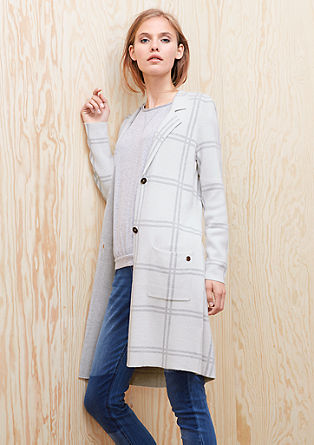 Long cardigan with a checks from s.Oliver