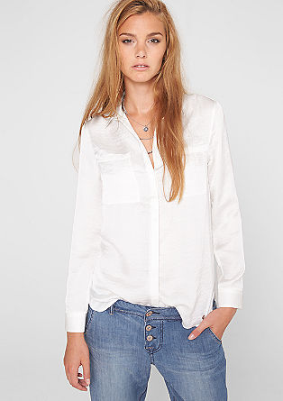 Long satin blouse with breast pockets from s.Oliver