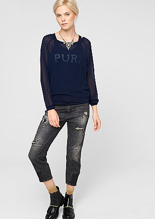 Long sleeve chiffon top in a layered look from s.Oliver
