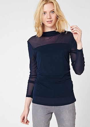 Long sleeve mesh top with a stand-up collar from s.Oliver