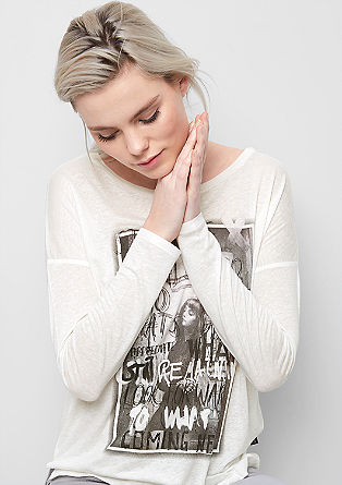 Long sleeve mullet top with a front print from s.Oliver