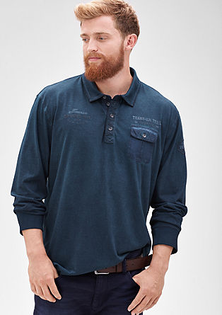 Long sleeve polo shirt in a striped look from s.Oliver