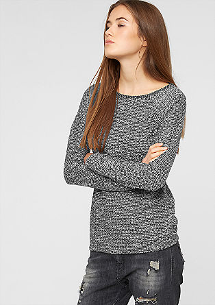 Long sleeve top in bouclé jersey from s.Oliver