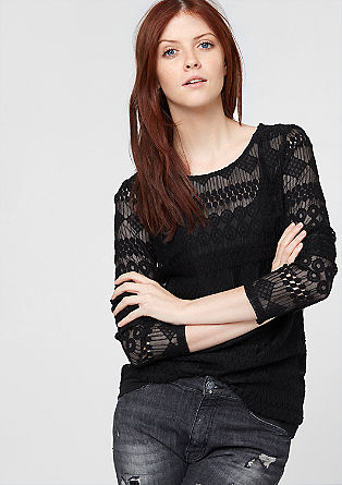 Long sleeve top made from fine lace from s.Oliver