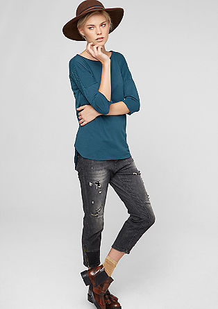 Long sleeve top with a burnt-out pattern from s.Oliver