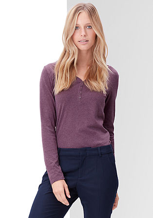 Long sleeve top with a button placket from s.Oliver