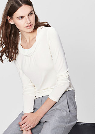 Long sleeve top with a chiffon collar from s.Oliver