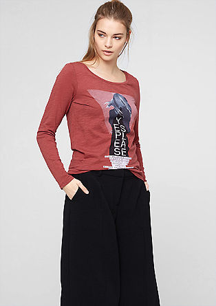 Long sleeve top with a colourful front print from s.Oliver