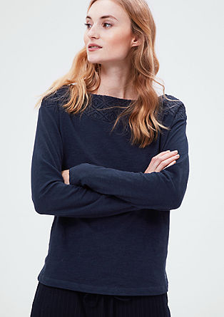 Long sleeve top with a lace detail from s.Oliver