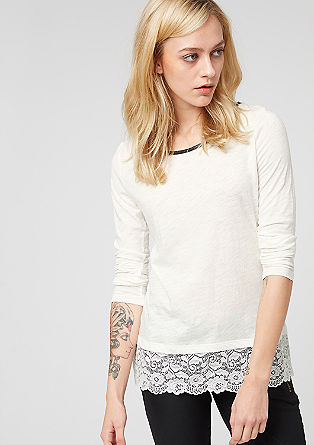 Long sleeve top with a lacy hem from s.Oliver