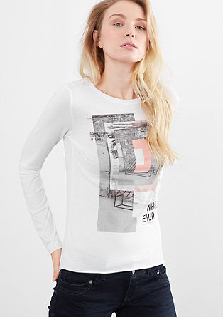 Long sleeve top with a print collage from s.Oliver