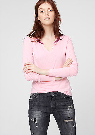 Long sleeve top with a sequin trim from s.Oliver