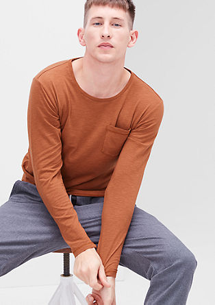 Long sleeve top with a slub yarn effect from s.Oliver
