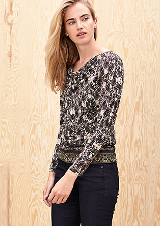 Long sleeve top with an all-over print from s.Oliver