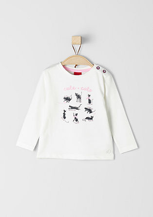 Long sleeve top with cat motifs from s.Oliver