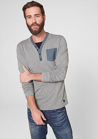 Long sleeve top with chambray details from s.Oliver
