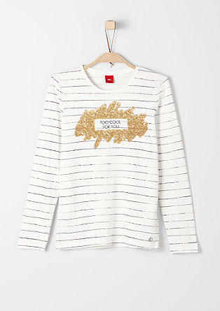 Long sleeve top with glitter appliqués from s.Oliver
