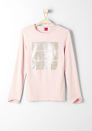 Long sleeve top with glitter print from s.Oliver