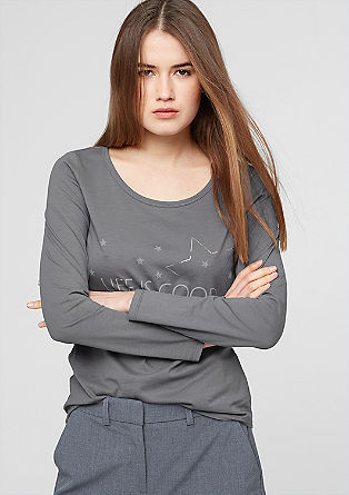 Long sleeve top with printed lettering from s.Oliver